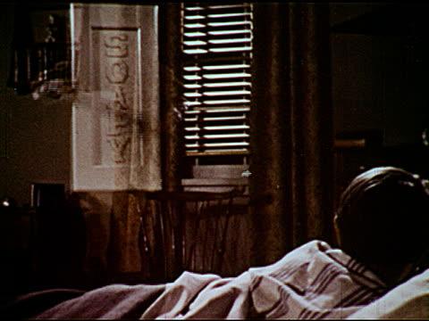 / cowboys on horses one horse bucks / talking soap bar and young boy laying in bed / scientist looks through microscope - bocksprång bildbanksvideor och videomaterial från bakom kulisserna