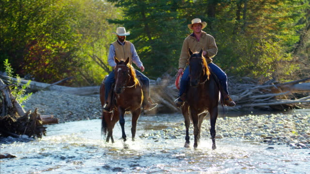Cowboys Riding horses in river wilderness area Canada