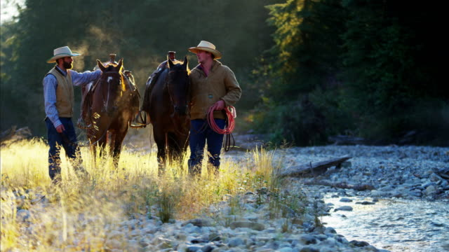 Cowboys walking horses in valley wilderness area Canada