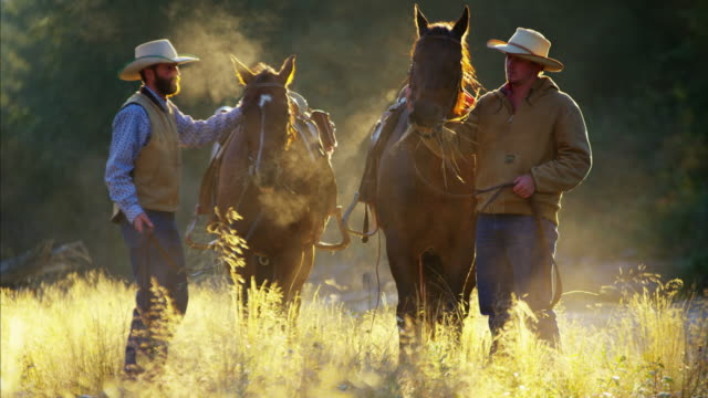 Cowboys with horses in forest wilderness area Canada
