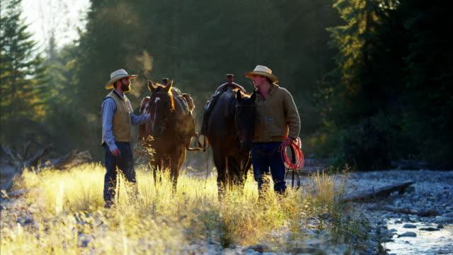 Cowboys with horses in Rocky mountains valley USA