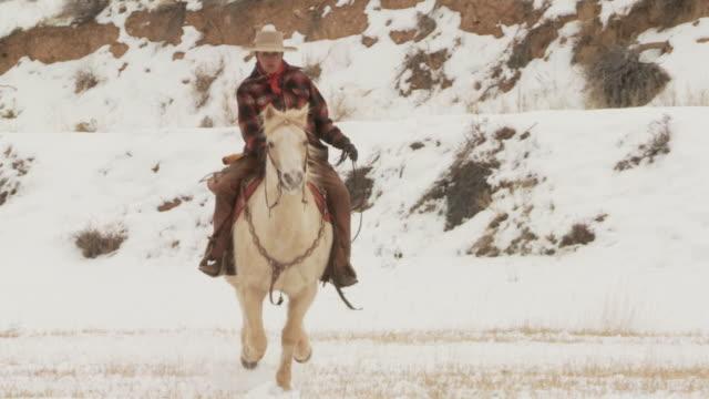 slo mo ws cu cowgirl galloping in snowy landscape / shell, wyoming, usa - 中年の女性一人点の映像素材/bロール