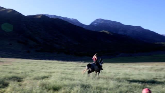 vídeos de stock e filmes b-roll de cowgirl horseback ride in the country - cavalgar