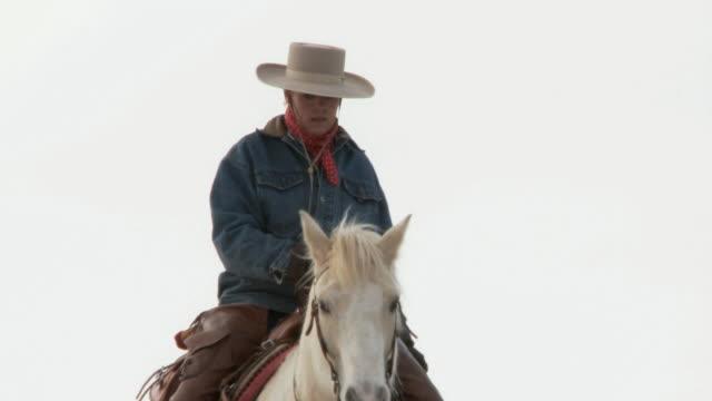 vídeos y material grabado en eventos de stock de tu cowgirl on horseback walking through the snow as a dog's following along / shell, wyoming, united states - galopar