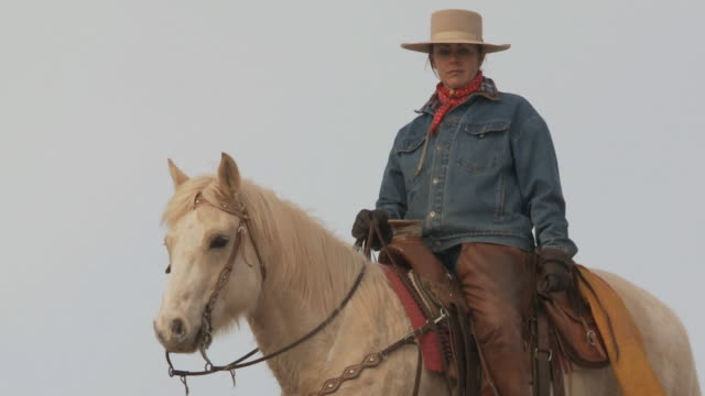slo mo ms la pan cowgirl riding horse / shell, wyoming, usa - 中年の女性一人点の映像素材/bロール