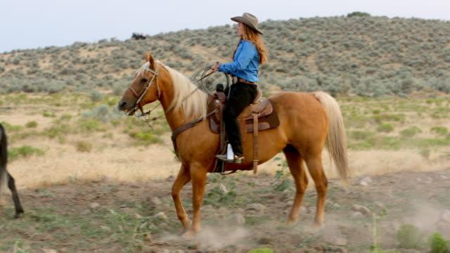 Cowgirl Reiten in einem Feld bei Sonnenuntergang