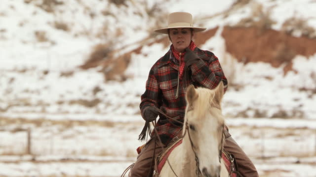 stockvideo's en b-roll-footage met ms cowgirl riding on a horse trotting across field / shell, wyoming, united states - alleen één mid volwassen vrouw