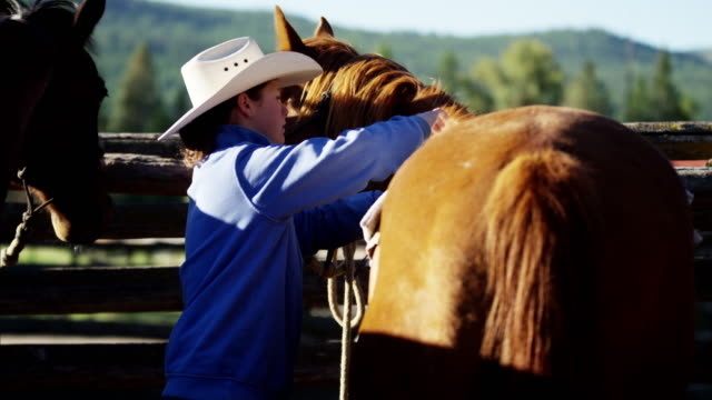 Cowgirl with horse in corral Dude Ranch USA