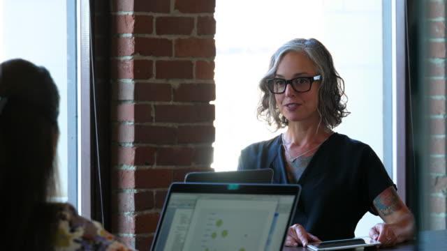 MS Coworkers having informal team meeting in coworking office space