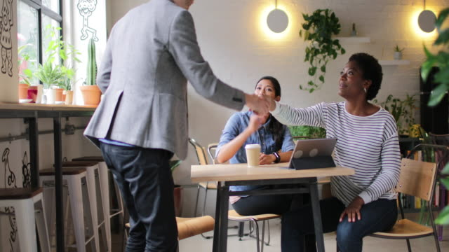 coworkers meeting in a cafe - native american ethnicity stock videos and b-roll footage