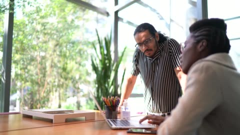 coworkers on a meeting at office lobby - business strategy stock videos & royalty-free footage