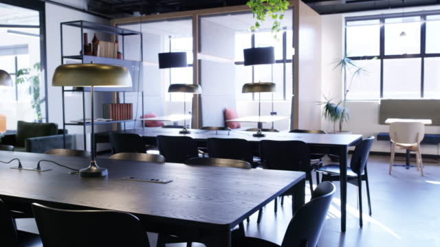 vídeos de stock e filmes b-roll de coworking office spaces are all the rage - arrumado