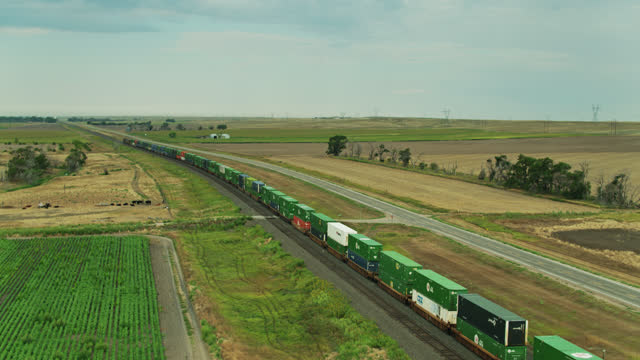 cows watching freight trains pass on nebraska farmland - aerial - cattle stock videos & royalty-free footage