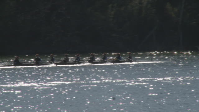 WS TS Coxed eight-person rowing crew racing in competition on lake / Austin, Texas