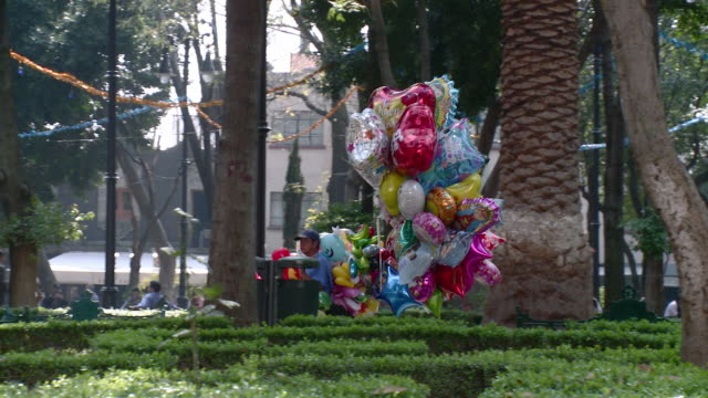 ws pan coyoacan balloon seller walking through park / mexico city, mexico - bancarella video stock e b–roll