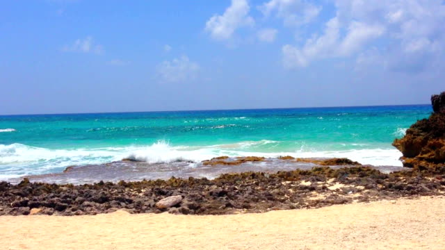cozumel beach waves water - cozumel stock videos and b-roll footage