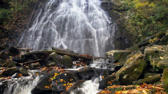 ms crabtree falls along blue ridge parkway, north carolina, usa - carolina del nord stato usa video stock e b–roll