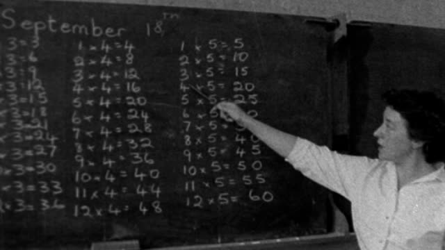 background report lib woolwich int b/w archive footage of female teacher at blackboard teaching times tables / children at desks in classroom / male... - kinderporno stock-videos und b-roll-filmmaterial
