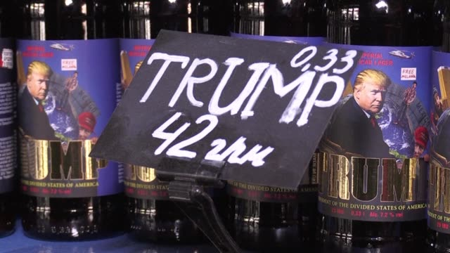 craft brewery in ukraine has cashed in on the frenzy surrounding donald trump's possible campaign links to russia by bottling a lager with a label... - lager stock videos & royalty-free footage