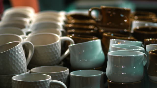 craft crockery ceramics at flea market - pottery stock videos & royalty-free footage