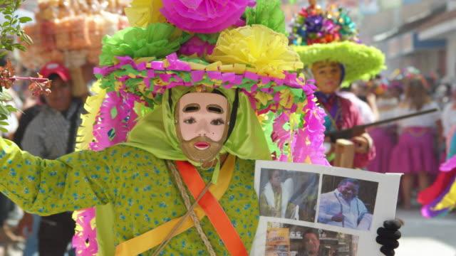 craft traditional costume at ocozocoautla de espinosa carnival. chiapas, mexic. mexican syncretism tradition - papier stock videos & royalty-free footage
