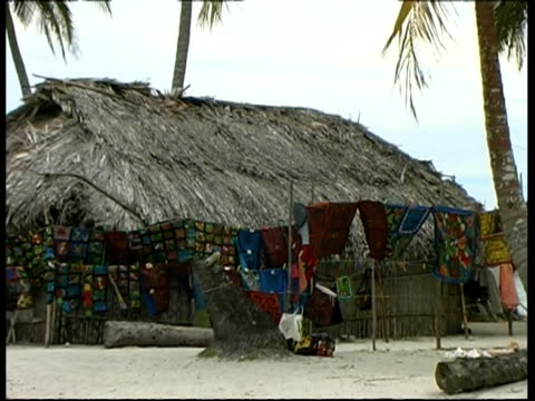stockvideo's en b-roll-footage met crafts of the cuna people, hanging by hut, zoom out, panama, central america - rieten dak
