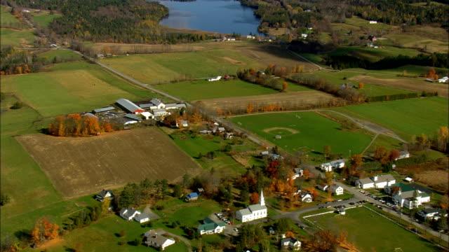 vídeos de stock e filmes b-roll de craftsbury  - aerial view - vermont,  orleans county,  united states - vermont