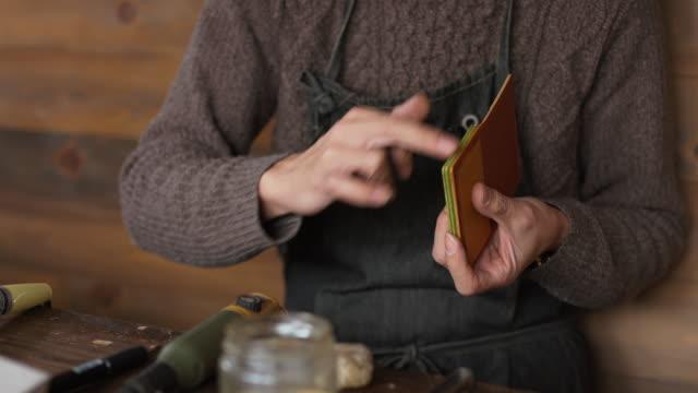 Handwerker-Handarbeit-Leder-Geldbörse