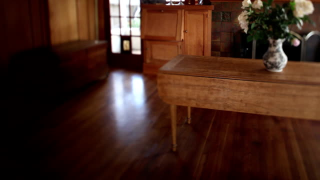 craftsman home livingroom interior - dining table stock videos & royalty-free footage
