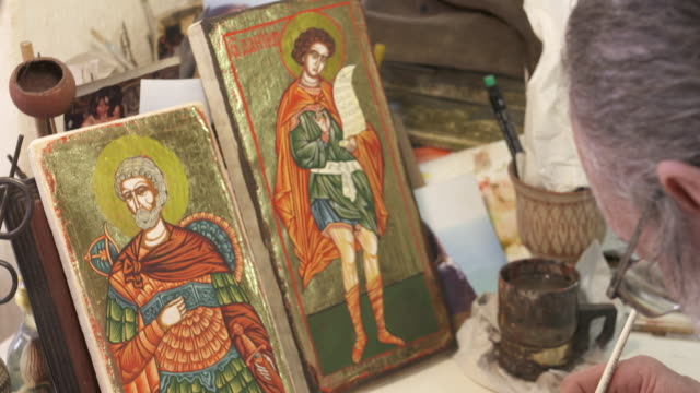 craftsman painting religious iconography - bulgaria stock videos & royalty-free footage