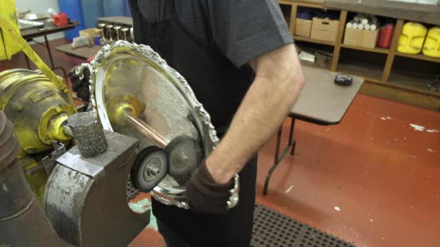 vídeos y material grabado en eventos de stock de craftsman polishing a salver - bandeja para servir