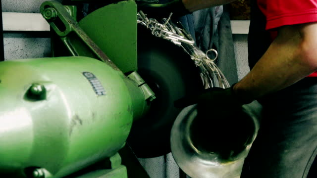 craftsman polishing trumpet - only mature men stock videos & royalty-free footage