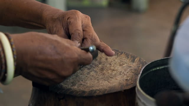 Craftsman work in the leather workshop