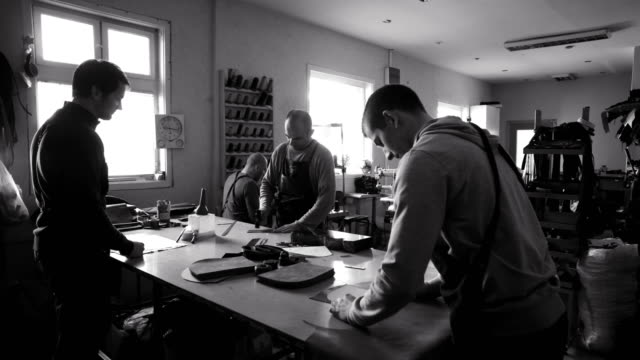 craftsmen work in workshop - leather stock videos and b-roll footage