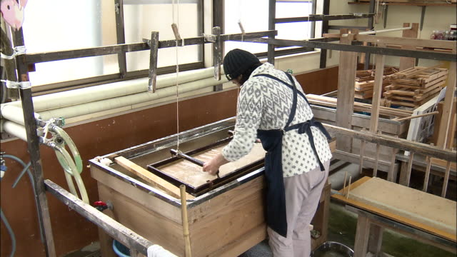 a craftswoman papermaking, japan - washi paper stock videos & royalty-free footage