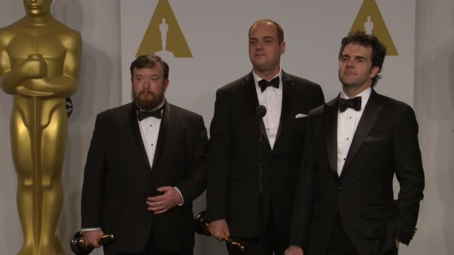 stockvideo's en b-roll-footage met speech craig mann ben wilkins and thomas curley at the 87th annual academy awards press room at dolby theatre on february 22 2015 in hollywood... - dolby theatre