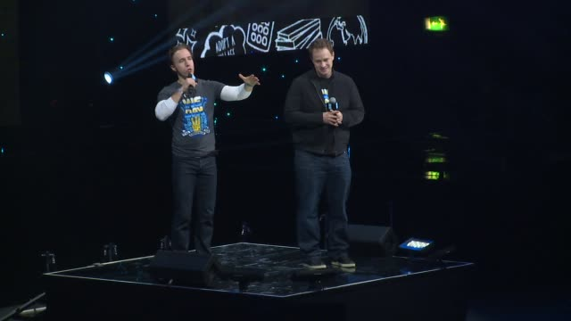craig & marc kielburger at we day uk at wembley arena on march 5, 2015 in london, united kingdom - wembley arena stock videos & royalty-free footage