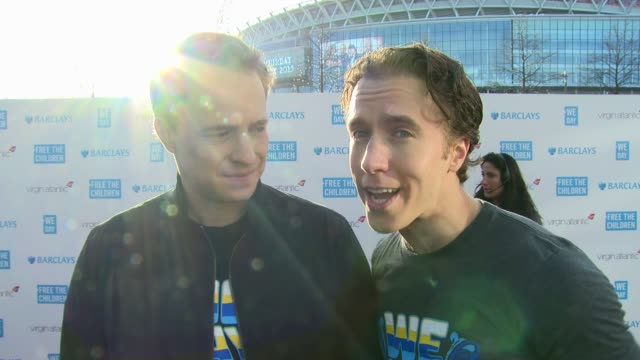 craig & marc kielburger on we day, current work and world book day at we day uk at wembley arena on march 5, 2015 in london, united kingdom - wembley arena stock videos & royalty-free footage