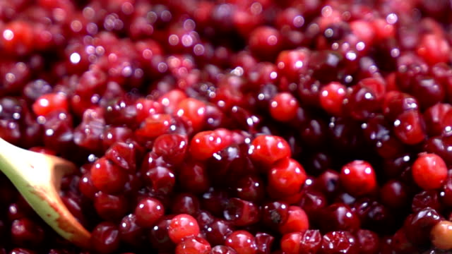 cranberry fruit background slow motion - cranberry stock videos & royalty-free footage