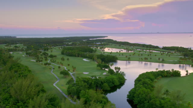 aerial crandon golf at key biscayne at sunset - green golf course stock videos & royalty-free footage