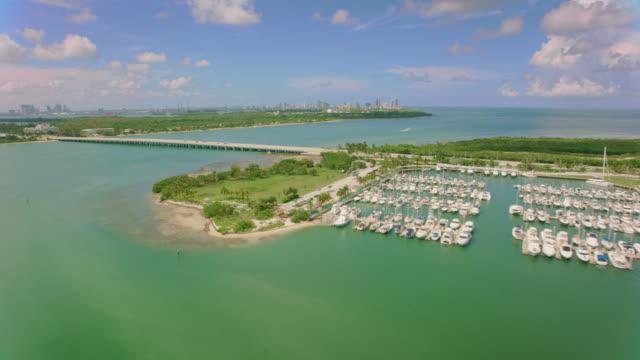 aerial crandon marina, key biscayne, fl - marina stock videos & royalty-free footage
