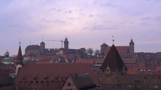 crane activity in the castle (imperial castle) of nuremberg (nürnberg), time lapse. - nuremberg stock videos & royalty-free footage