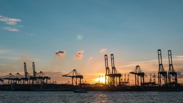 vídeos y material grabado en eventos de stock de barco de grúa y contenedores en el puerto industrial por la noche, singapur, día a noche lapse video - grulla de papel