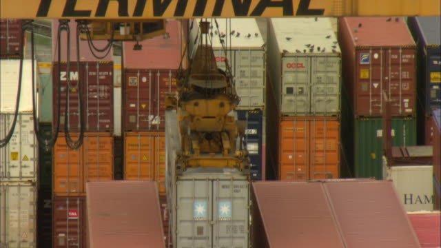 ms ha tu crane and stacks of shipping containers in freight yard / basel, switzerland - western script stock videos & royalty-free footage