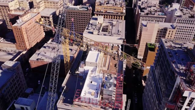 Crane Disassembly Above Downtown Los Angeles