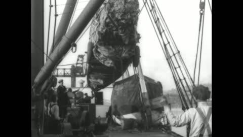 crane hoisting packaged fuselage of plane / fuselage being eased over deck / various shots fuselage being lowered onto deck / crane moving packaged... - hoisting stock videos & royalty-free footage