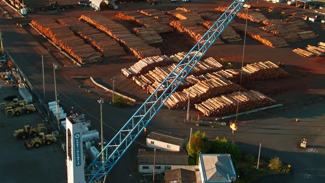 crane in the port of olympia - aerial - 材木置き場点の映像素材/bロール