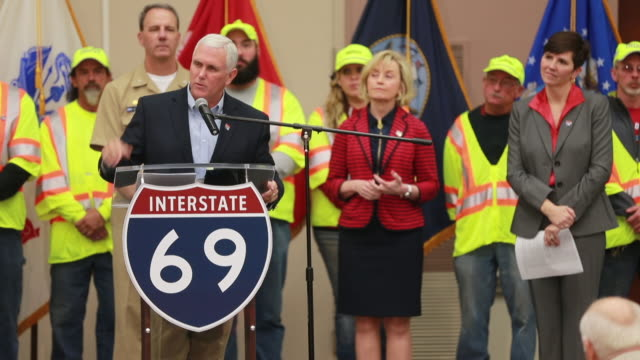 stockvideo's en b-roll-footage met indiana governor mike pence talks about interstate 69 at a ceremony celebrating the opening of section 4 wednesday at west gate academy near crane... - gouverneur