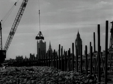 a crane is operated at the festival of britain site on the south bank of the thames - festival of britain stock videos & royalty-free footage