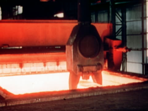 MS crane lifting hot metal in a steelworks